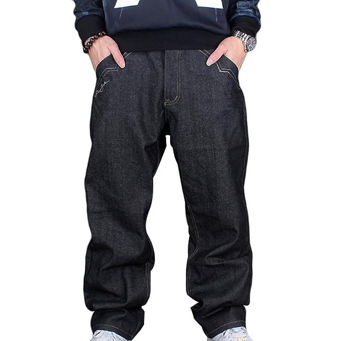 Dexinx Uomo Hip Hop Danza Pantaloni Squisiti Classic Vintage Jeans Urbano Baggy Denim