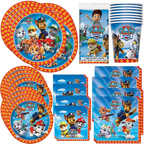 Unique Paw Patrol Birthday Party Bundle | Luncheon & Beverage Napkins, Dinner & Dessert Plates, Table Cover & Cups | Great for Animated/Cartoon/Animal Themed Parties -