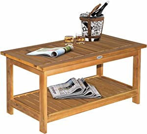 Outsunny 2-Shelf Acacia Wood Table Outdoor Multifunctional Buffet Bar Storage Organizer Natural Finish Teak 35.5
