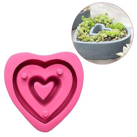 Starter molde para macetas de flores de silicona con forma de corazón para la decoración doméstica