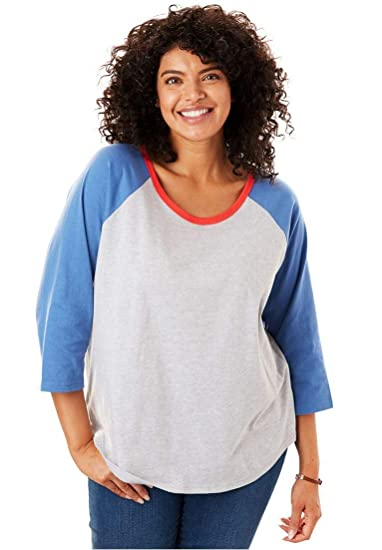 b6ba61d0010 Woman Within Plus Size Three-Quarter Sleeve Baseball Tee - Heather Grey  Multi