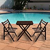A10 Shop Delta Range Solid Wood Outdoor Folding Furniture set : 2 Chairs + 1 Table (Set of 3) for Garden, Patio, Balcony or Deck -Walnut Finish
