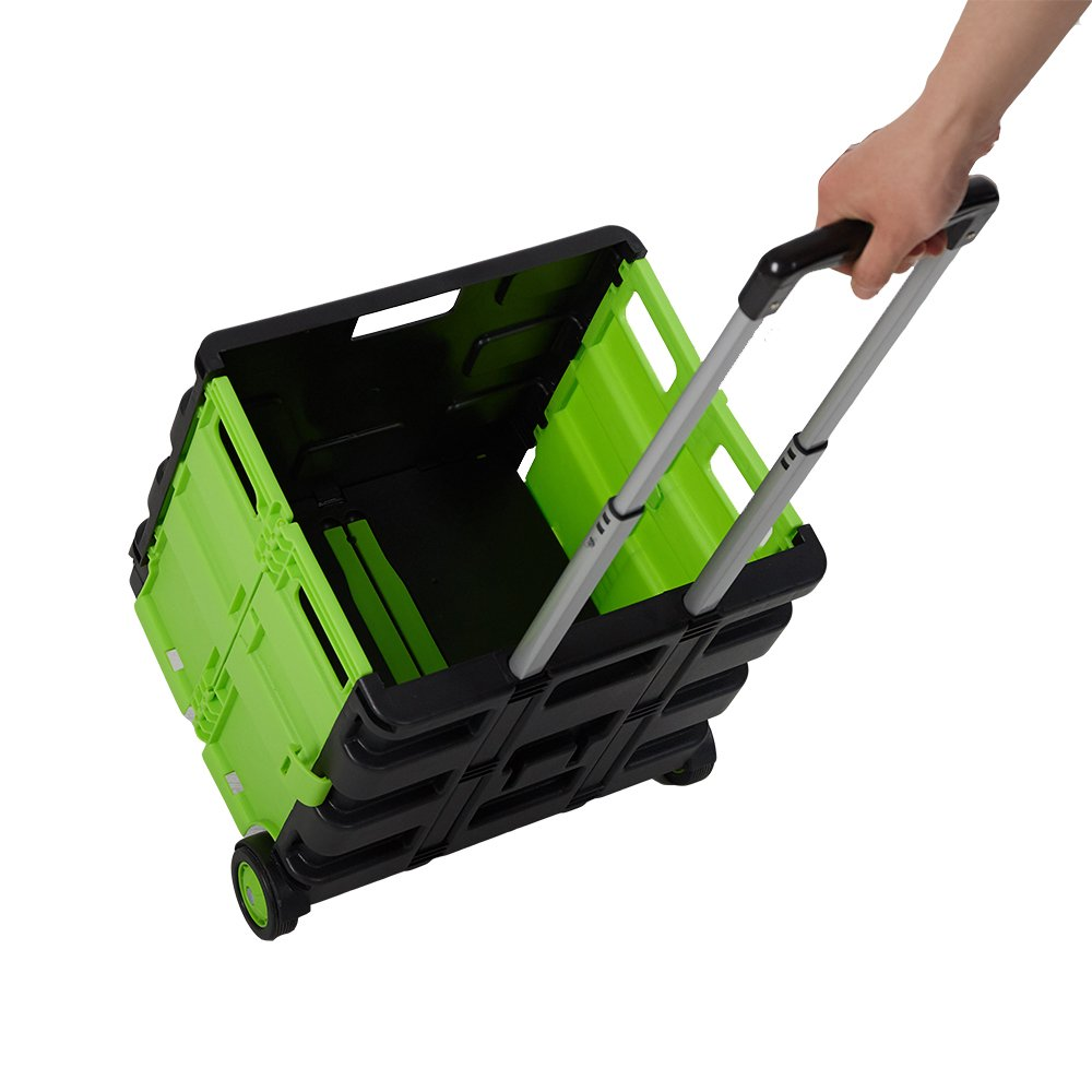 Dporticus Folding Two-Wheeled Trolley Hand Cart Plastic Hefty Heavy Carry Shopping Picnic Travel Office (Green/Large)