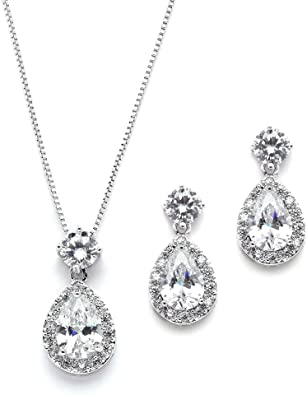 Mariell Pear Shaped Cz Teardrop Necklace And Earrings Set Wedding Jewelry For Brides Bridesmaids