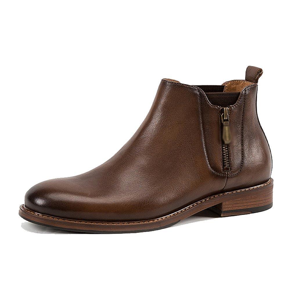 LYZGF Herren British Casual Lederstiefel Fashion Reißverschlüsse Jugend Martin Stiefel