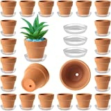 35 Pack Mini Terracotta Pots - 2 inch Small Terra Cotta Plant Pot with Saucer - Tiny Clay Planter in Bulk - Drainage…