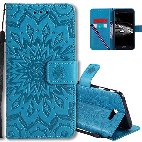 J5 Prime Flip Case COTDINFORCA Emboss Mandala with Card Holder Slot Pockets, Wrist Strap, Magnetic Closure Premium PU Leather Case Cover For Samsung Galaxy J5 Prime SM-G570. Mandala Blue