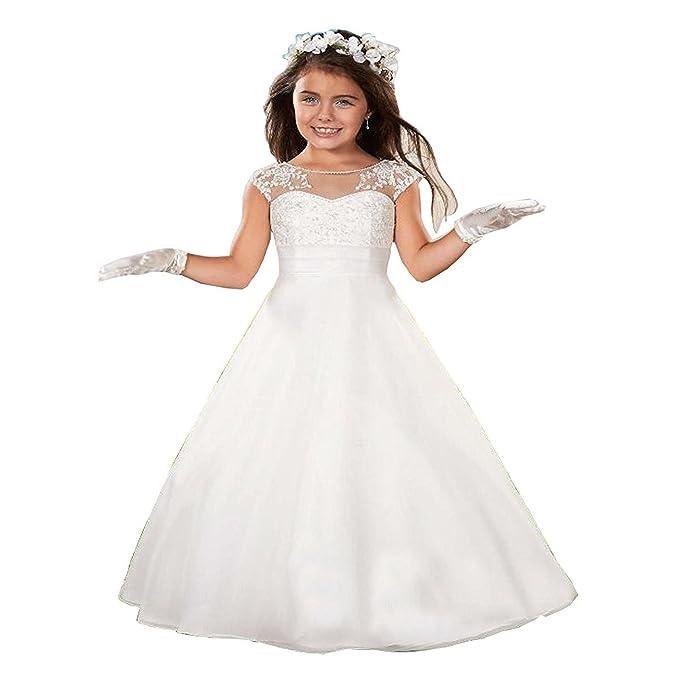VIPbridal Flor Alinear Vestido de la Muchacha de la Cremallera Vestidos de la Primera comunión