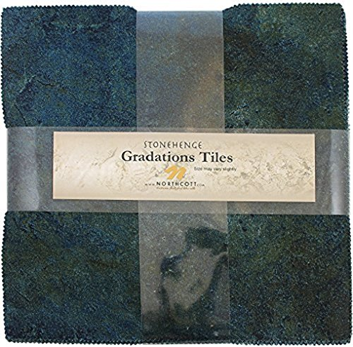 Stonehenge Gradations Blue Planet Stone Tiles 42 10-inch Squares Layer Cake - Blue Store Planet