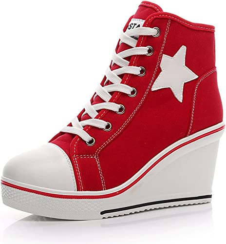 ROSEUNION Damen Mädchen Sneaker Wedges Sportlichschuhe High Top Keilabsatz Spitze Laufschuhe Keilabsatz Schuhe Größe 35 42