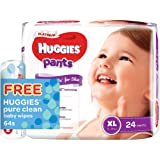 Huggies Platinum Pants XL 24ct + Pure Clean Wipes, 24 count