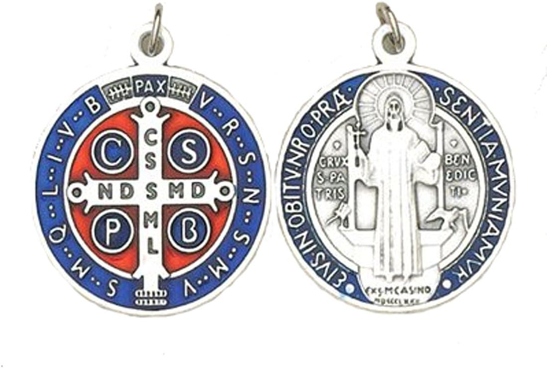 """St. Benedict Medal - Blue Enameled- Silver - 1-1/4"""""""