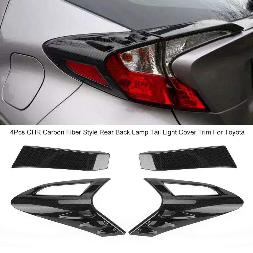 Alician 4 Pezzi in Fibra di Carbonio Stile Posteriore Posteriore Lampada fanale Posteriore Copertura Trim per Toyota CHR C-HR