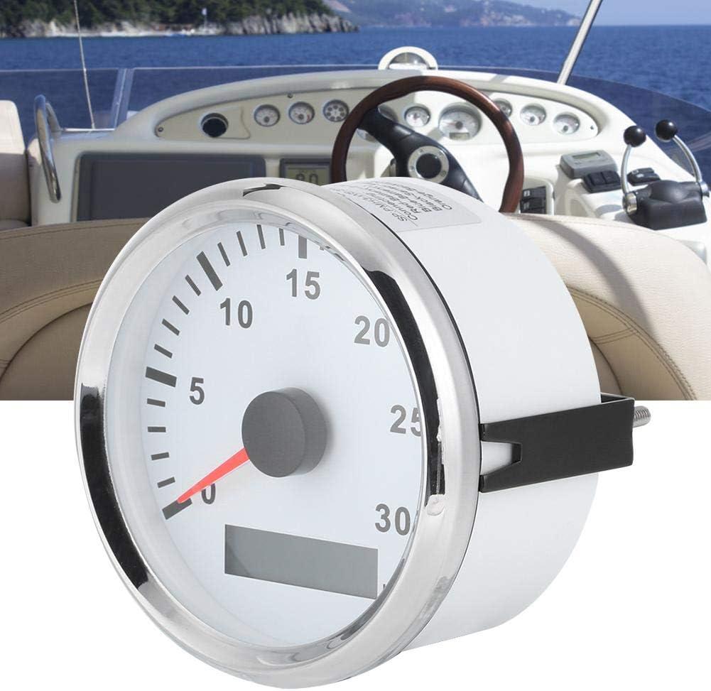 24V Red Light with LCD Display Service Hour Meter 3000 RPM 3.3in Boat Tachometer Sensor IP67 Tacho Gauge 12V Silver Frame Black Dial Boat Tachometer,85mm