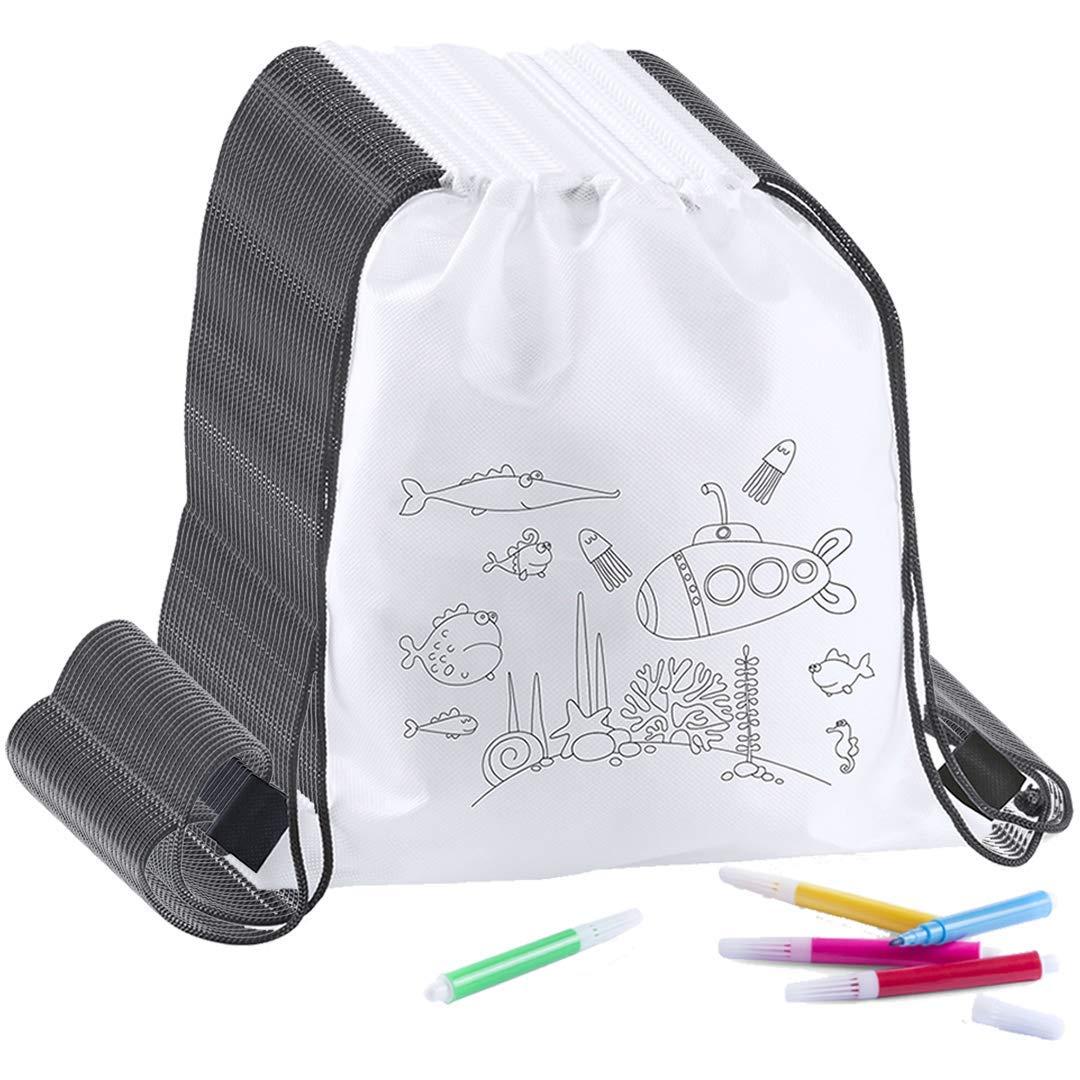 Partituki 30 Mochilas Infantiles para Colorear. Cada Una Incluye 5 Rotuladores de Colores. Ideal para Regalos de Fiestas de Cumpleaños
