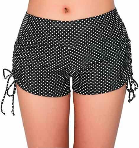 c7fac9e74b UNOW Women's Sporty Adjustable Boy Leg Wide Waistband Fully Lined Bikini  Bottom Beach Briefs Tankinis Board