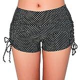 UNOW Women's Sporty Adjustable Boy Leg Wide Waistband Fully Lined Bikini Bottom Beach Briefs Tankinis Board Shorts(Black and White Dot,XL)