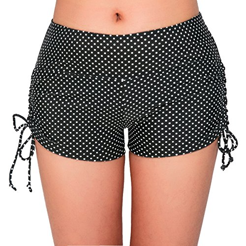 UNOW Women's Sporty Adjustable Boy Leg Wide Waistband Fully Lined Bikini Bottom Beach Briefs Tankinis Board Shorts(Black and White Dot,XL)