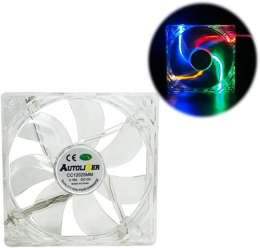 Autolizer Sleeve Bearing 120mm Silent Cooling Fan for Computer PC Cases, CPU Coolers, and Radiators - High Airflow, Quite, and Transparent Clear (RGB Quad 4-LEDs) - 2 Years Warranty