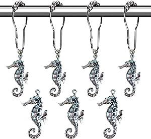 Aitian Shower Curtain Hooks Rings - Seahorse Decorative Accessories Set,Tropical Island, Coastal Beach,Ocean, Nautical Boat,Modern Seaside Sand Scenic Theme Bathroom Decor,12 PCS (Silver)