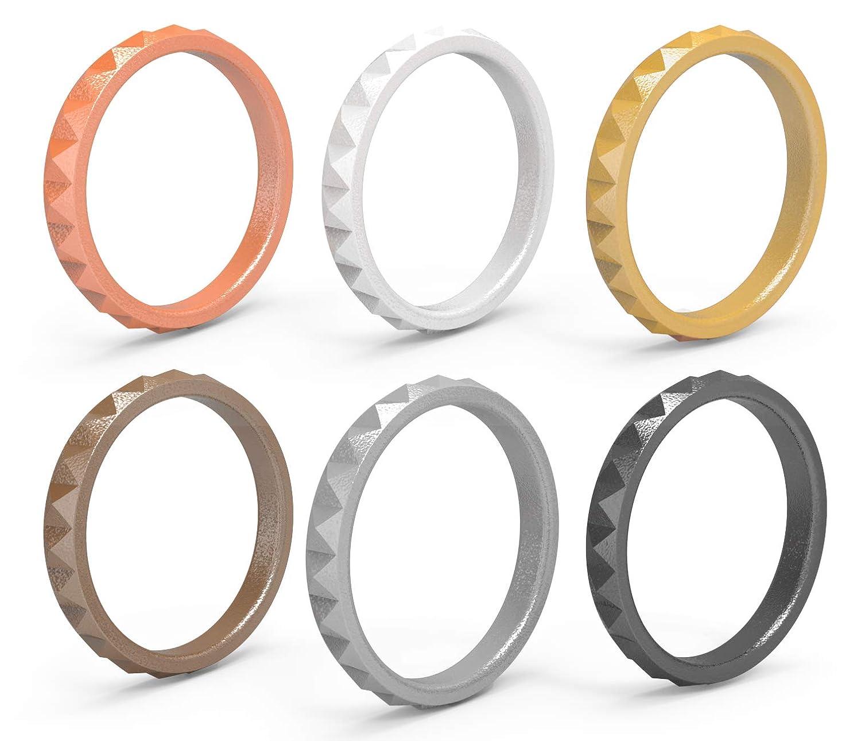 【人気商品】 Arua - 薄いシリコーン製結婚指輪 6パック 女性用 6パック 重ね付け可能なシリコンリング ダイヤモンド模様 ファッションラバー結婚指輪 快適 - 抗菌 B07G5JC5Z4 Gold, Silver, Copper, Rose, Black, White 5 - 5.5 (15.7mm diameter) 5 - 5.5 (15.7mm diameter)|Gold, Silver, Copper, Rose, Black, White, 2019年最新海外:de924511 --- arianechie.dominiotemporario.com