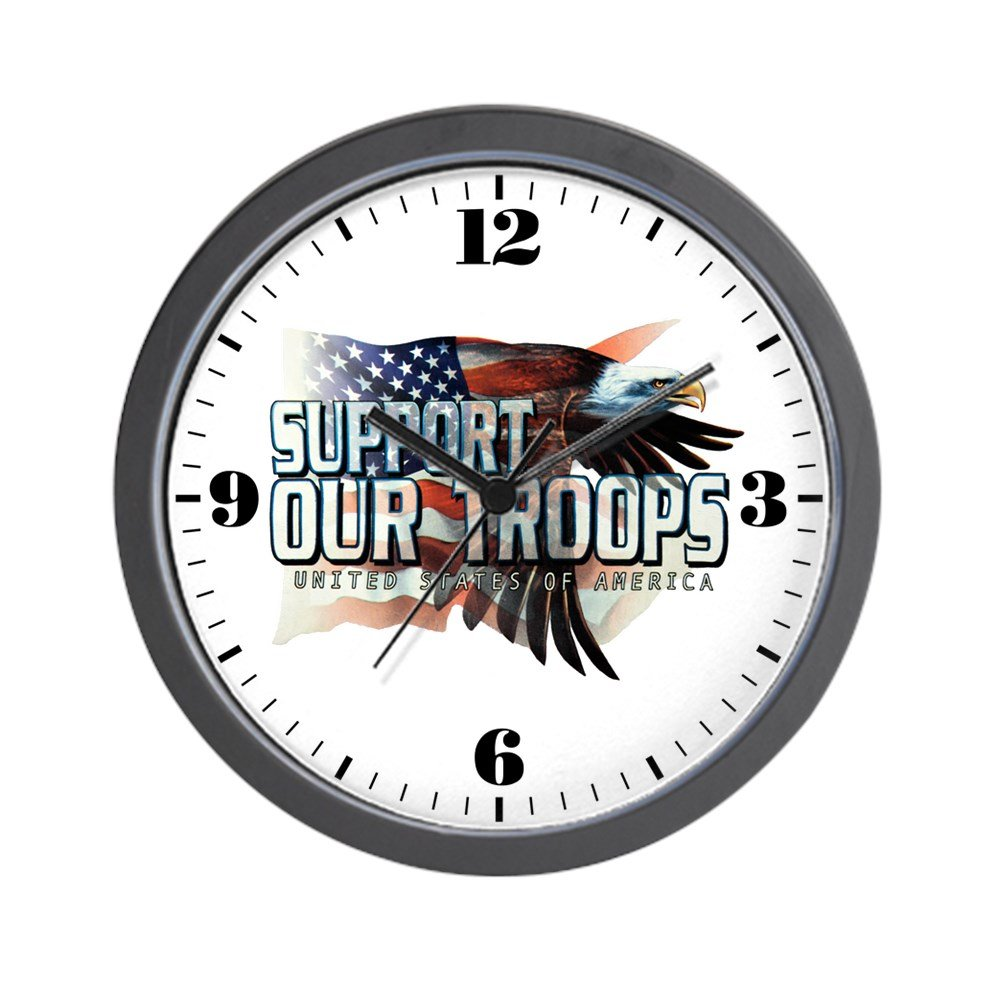 Wall Clock Support Our Troops US Flag Eagle