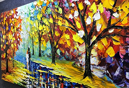 Fasdi-ART Paintings, 24x48 Inch Paintings, Love in the Forest Oil Hand Painting Painting 3D Hand-Painted On Canvas Abstract Artwork Art Wood Inside Framed Hanging Wall Decoration Abstract Painting by Fasdi-ART (Image #3)