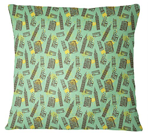 S4Sassy 1 Pair London Theme Clock Tower Square Mint Green Cotton Poplin Cushion Cover-12 x 12 Inches
