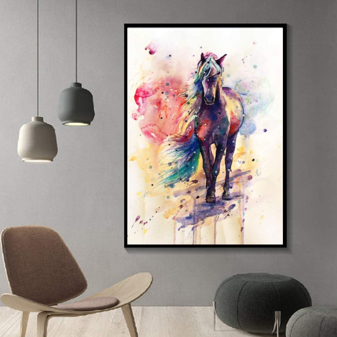 Danjiao Impresiones De Acuarela Lienzo Pintura Animal Cartel Abstracto Caballo Pintura Al Óleo Cuadros De Pared Para Sala De Estar Cuadros Decoración Para El Hogar Sala De Estar Decor 60x90cm