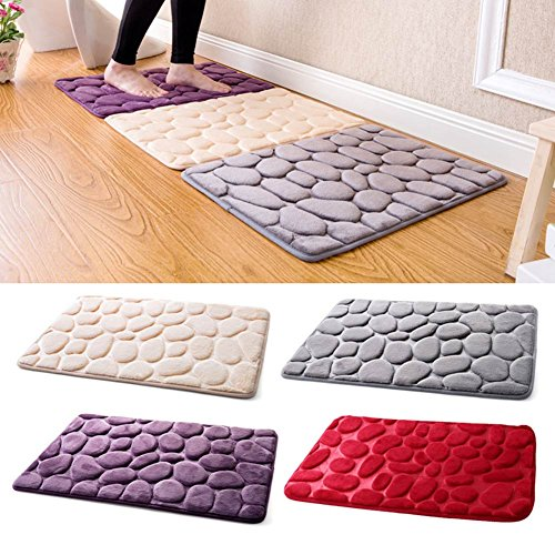 3D Cobblestone Indoor Doormat, GuanYuanGuang Simple & Stylish Flannel Bath Rugs Water Absorption Non-slip Floor Mat, 15.8
