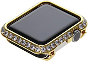 Callancity 42mm Bling Face Cover Rhinestone 3.0mm Big Size Crystal Diamond Metal Case Compatible With Apple Watch Series 3/2/1 For Men/Women (Gold, 42mm)