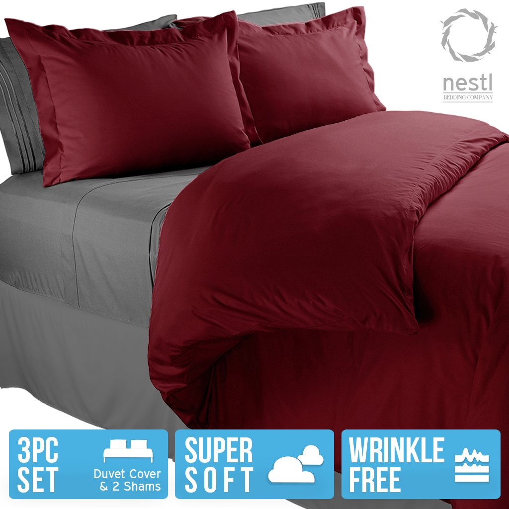 Color Burgundy Red, 3 Piece Duvet Cover Set