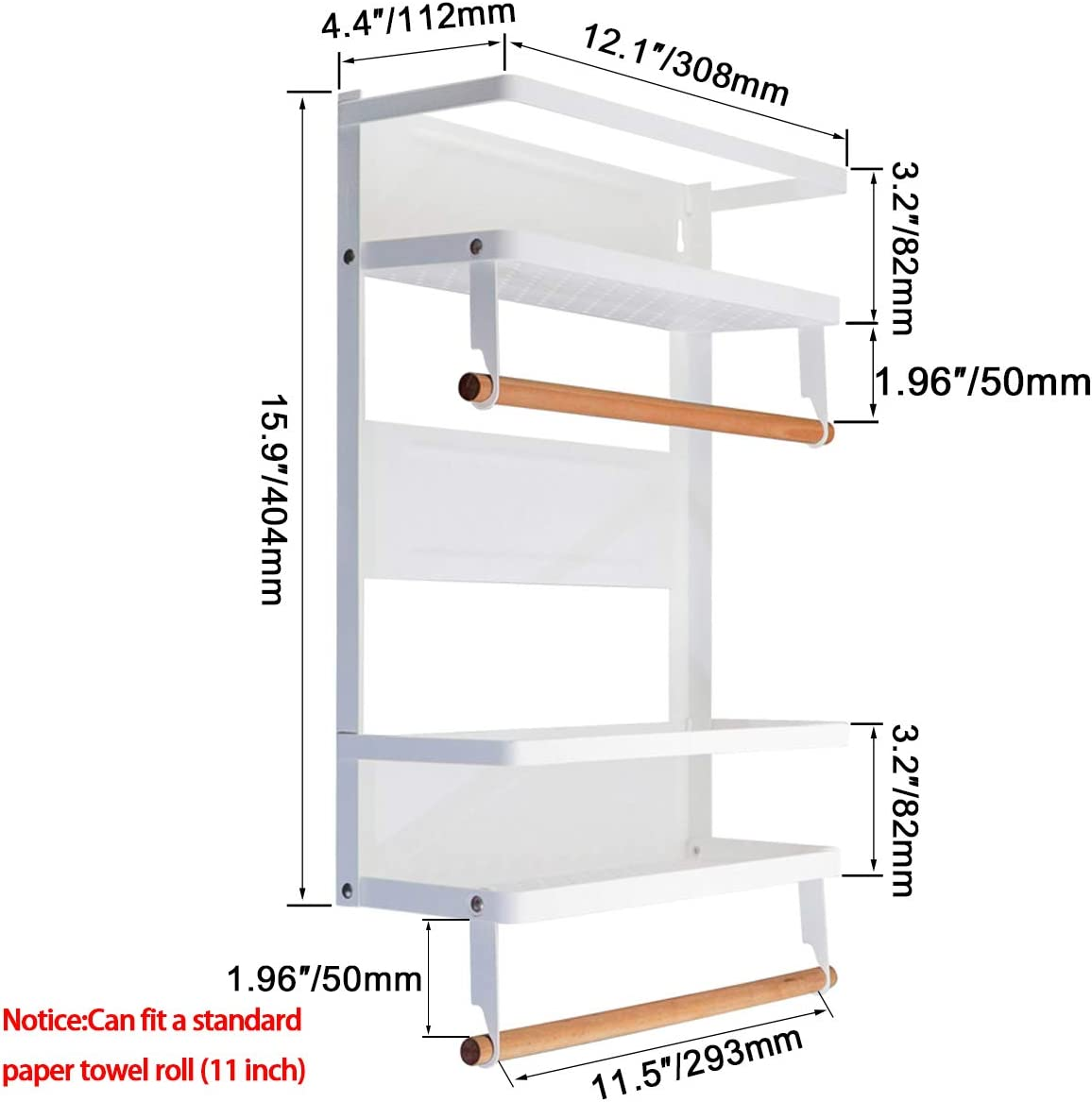 Magnetic Fridge Spice Rack Refrigerator Organizer Rack Double Tier Foldable Kitchen Magnetic Side Shelf for Storage Spices Olive Oil Sauce Salt Pepper Towel with Wooden Holder Hook and Screw White