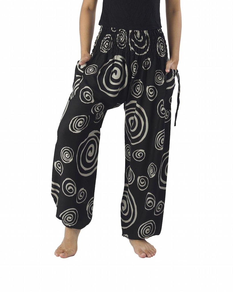 Lannaclothesdesign Women's Smocked Circle Printed Hippie Boho Pants (XL, Black)