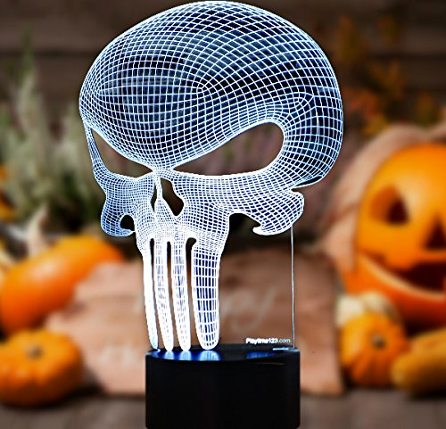3D Punisher Skull Lighting by Playtime 123 is a Great Nightlight with a Soft Glow for Kids. These Lights Make Beautiful Gifts and Amazing Desk Lamps for Dad. Start enjoying - Skull Illusion