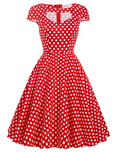Belle Poque Red and White Polka Dot Dress V Neck Short Bridesmaid Dresses Size L BP08-7 -
