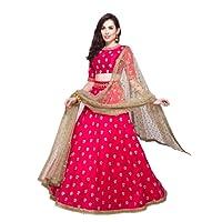 Shivam Women's Silk Embroidered Lehenga Choli (pinknew_pink_Free Size)