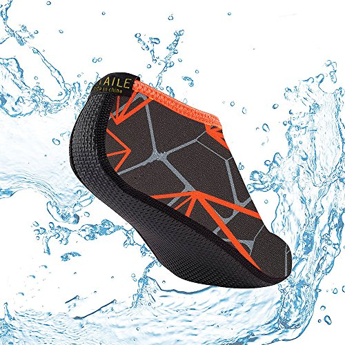SITAILE Water Shoes, Mens Womens Quick Dry Water Swimming Shoes Aqua Socks For Beach Swim Surfing Yoga Exercise Grey Orange