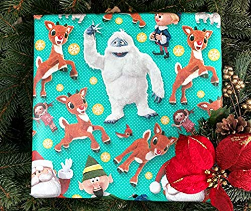 (Rudolph The Red Nosed Reindeer & Bumble 60 Sq ft Christmas Holiday Gift Wrapping)