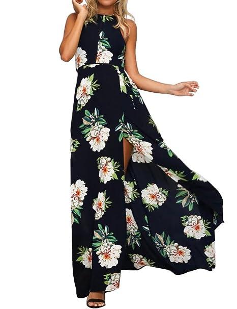 e7468bae1515 TEMOFON Women s Floral Maxi Sexy Halter Split Chiffon Dress Sleeveless  Backless Summer Boho Party Beach Dresses