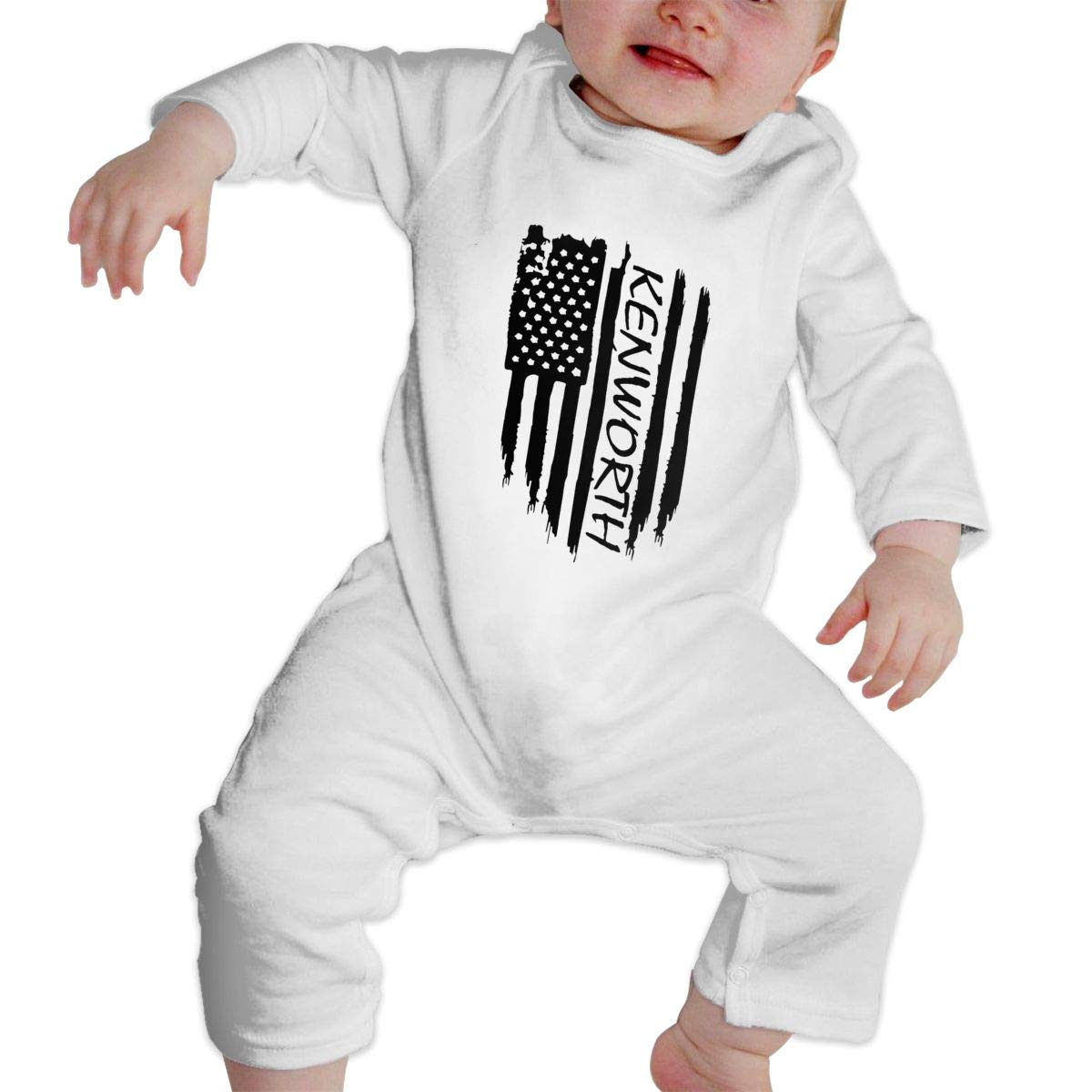 MiNgosRY American Flag Kenworth Newborn Baby Long Sleeve Bodysuits Rompers Outfits