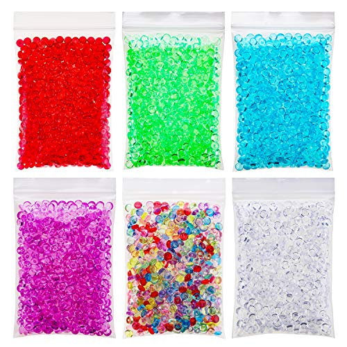 (OOTSR Fishbowl Beads for Slime DIY for Crunchy Sensory Slime Kits - Plastic Clear Vase Filler Beads - Kids Crafts for Party Decoration or Wedding (6 Colors, 10.6 Ounces))