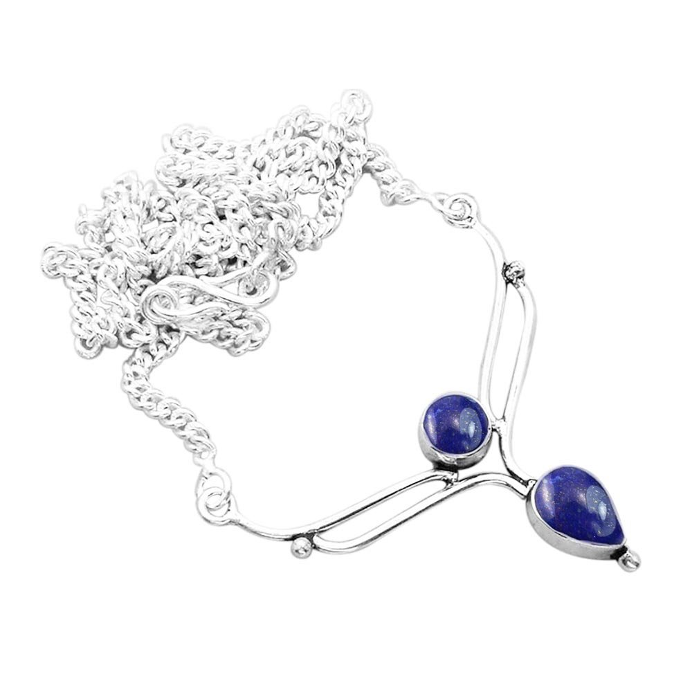 925 Silver Plated 2.50ct, Genuine Lapis Necklace