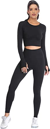 JOLLMONO Two Piece Workout Outfits for Women, High Waisted Yoga Leggings and Long Sleeve Crop Tops for Women Seamless Set