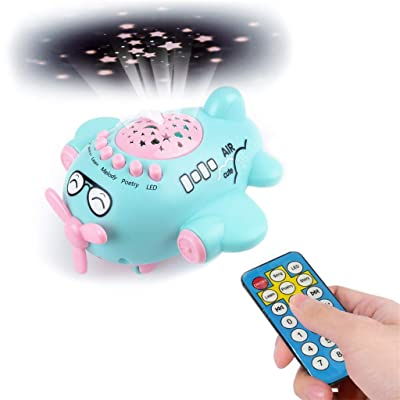 Jinjin Children Early Education Starry Sky Projection Music Small Plane Baby Remote Night Light Projector to Help Children Fall Asleep (Blue) : Baby