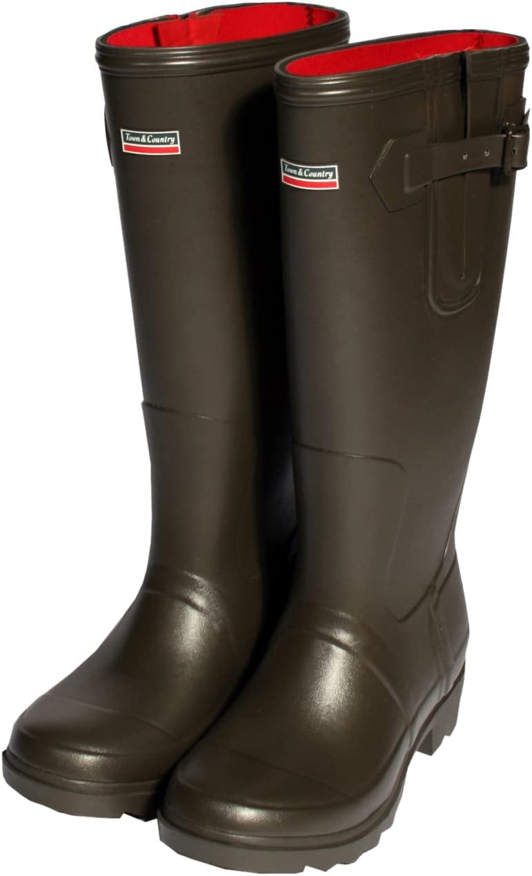 TALLA UK Size 8. Botas de lluvia Rutland de Town and Country, forro de neopreno, talla 41, marrón chocolate