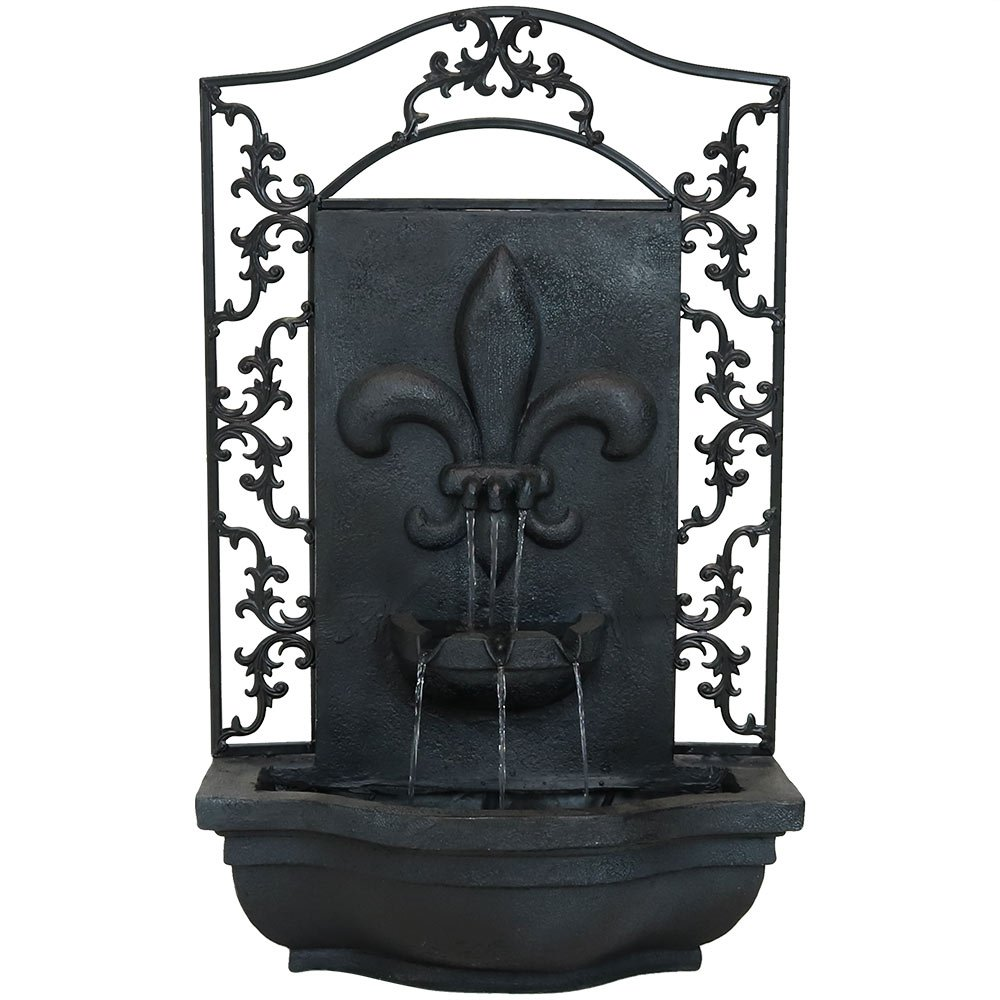 Sunnydaze French Lily Solar Outdoor Wall Fountain, Lead, Solar Only Feature