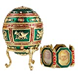 Swarovski Crystals Faberge Egg: Napoleonic Large Faberge Style Egg Box Green Limited Edition Collectible Faberge Reproduction