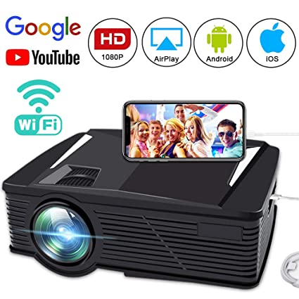 6f081754bd93fd Wireless Video Projector 2800 Lumen, FAERSI Wifi LED Mini Movie Projector,  1080P Full HD