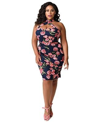 2bc3361c5ad51 Unique Vintage Plus Size 1960s Navy & Pink Floral Criss Cross Halter  Penelope Wiggle Dress
